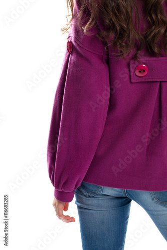 Girl wears purple coat Poster