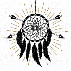 Hand drawn tribal icon with a textured dream catcher vector illustration.