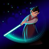 Cartoon fantastic hero with a blue light sword