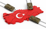 Tanks moving through the Turkish map and flag. 3D illustration