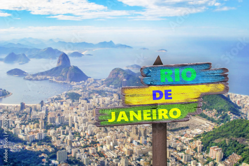 Poster 2016 written on a sign, panorama of Rio de Janeiro in the background