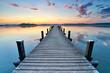 Seeufer des Badesee`s, Steg zum Sonnenaufgang