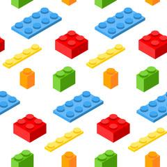 Seamless pattern with isometric plastic blocks. 3d vector symbols.