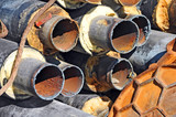 Rusty steel pipe with heat insulation - 116723069