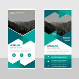Green Abstract triangle Business Roll Up Banner flat design template ,Abstract Geometric banner template Vector illustration set, abstract presentation template