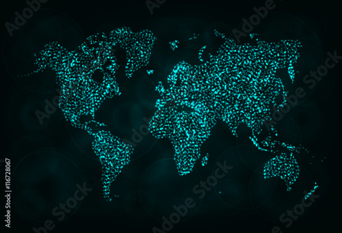 Staande foto Wereldkaart Map silhouette of lights on dark background