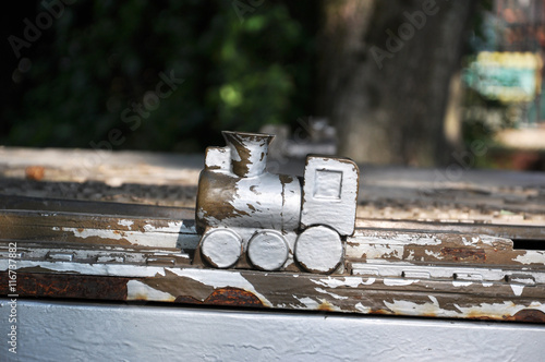 obraz PCV wooden train in a Park