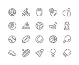 Fototapety Line Sport Equipment Icons