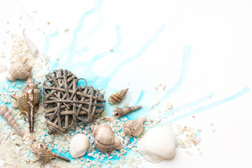 Background with shells and heart