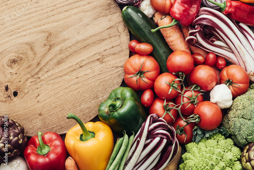 Vegetables in a rustic kitchen Poster
