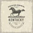 Постер, плакат: Кентукки стилизованная эмблема штата Америки лошадь символ штата винтаж