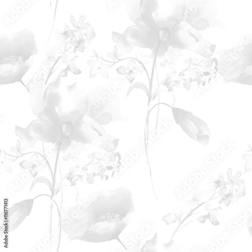 Monochrome seamless pattern with flowers - 116771413