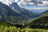 Summer Koprova valley and Slovak national mountain called Krivan