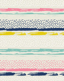 Vector seamless pattern with colorful dots. Background with ink strokes.