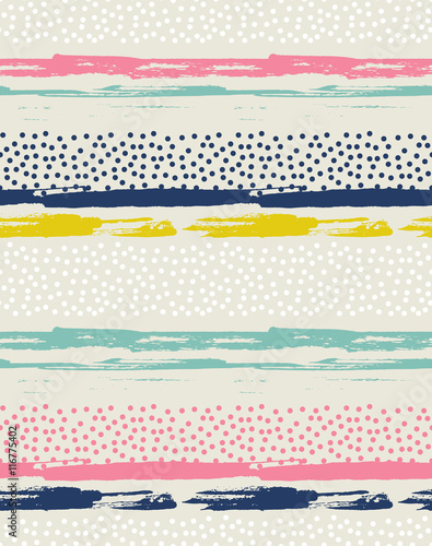 Vector seamless pattern with colorful dots. Background with ink strokes. - 116775402