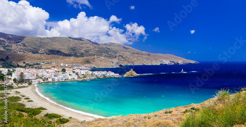 Fotobehang Donkerblauw impressive landscapes and beautiful beaches of Greece - Andros island