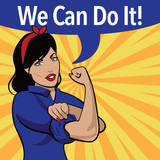 Fototapety We Can Do It. Retro cartoon woman power and labor war effort design.