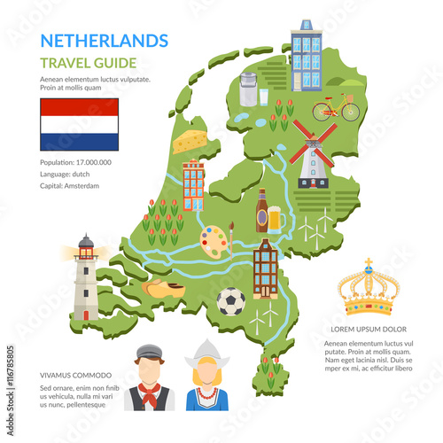 Netherlands Map Flat Infographics Poster