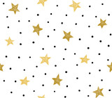 Seamless pattern with chaotic dots and stars. Vector hipster background.