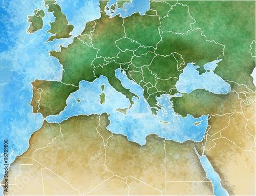 Cartina disegnata a mano del Mediterraneo, Europa, Africa e Medio Oriente