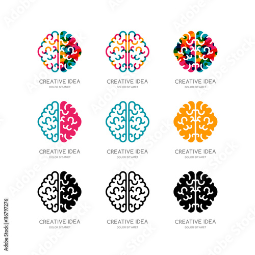 Set of vector brain logo, sign, emblem design elements. Outline color human brain isolated symbol. Concept for business solutions, high technology, development and innovation, creativity. © Betelgejze