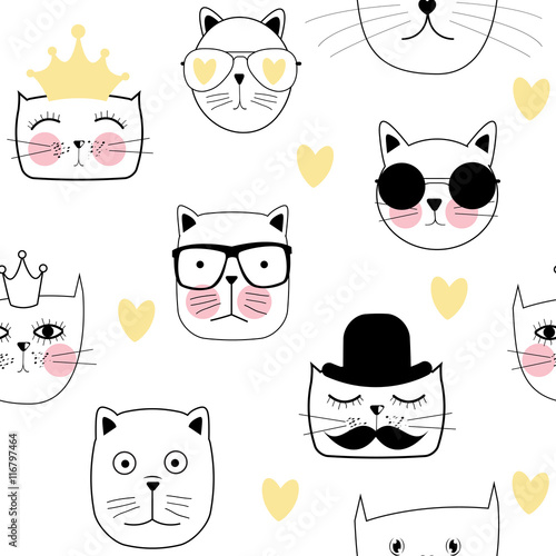 Cute Handdrawn Cat Seamless Pattern Vector Illustration - 116797464