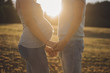 Couple expecting a child holding hands facing each other.