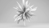 White sharp edged 3D shape pulsating. Abstract semless loop 3D render smooth animation with motion blur. 4k UHD (3840x2160)