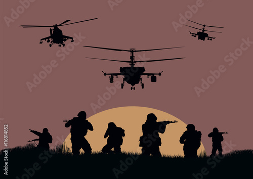 Illustration, the soldiers going to attack and helicopters. Plakat