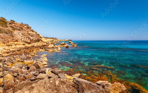 Poster Egypte Beautiful panoramic sea view on Ayia Napa near of Cavo Greco, Cyprus island, Mediterranean Sea. Amazing blue green sea and sunny day.