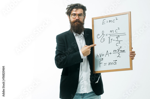 Poster bearded man with einstein formula and newtons law