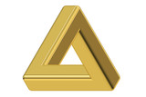 Impossible gold triangle optical illusion, 3D rendering