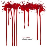 Fototapety Vector red Ink stain, blots and splashes. Isolated paint drops, design elements.