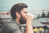 Man drinking morning coffee