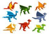 Cartoon flying dragons flat icons