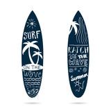 surfboard set textured in blue color illustration - 116827479