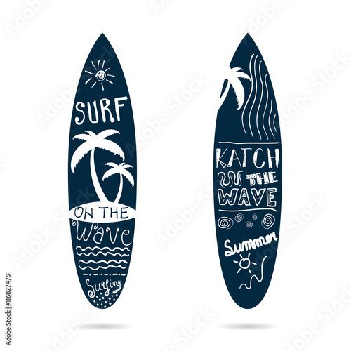 Fototapeta surfboard set textured in blue color illustration