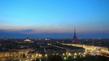establishing shot of turin skyline at night aerial view