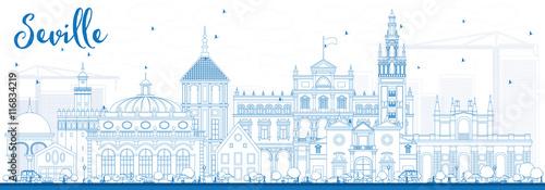 Outline Seville Skyline with Blue Buildings.