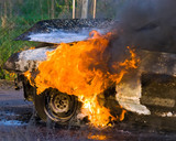 Burning car Fire suddenly started engulfing all the car - 116843462