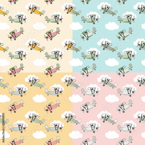 Cotton fabric Retro cartoon airplane  seamless pattern