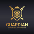 Guardian logo. Lion shield. Warrior logo.