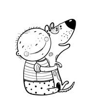 Mały chłopiec przytulanie psa najlepiej szczęśliwych przyjaciół Outline