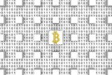 Block chain in the form of binary code, 3D illustration