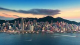 Sunset over Hong Kong island time lapse. Urban cityscape 4K panorama background - 116866425