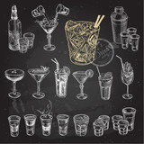 Fototapety Hand drawn sketch set of alcoholic cocktails. Vector illustration