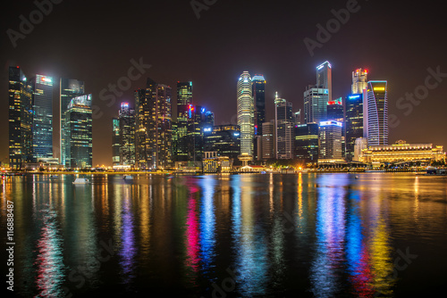 Plagát Landscape of the Singapore financial district and business build