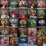 Collage of still lifes with bouquets.