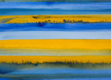 A watercolor painting with horizontal bands of color. - 116891219
