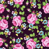Seamless floral pattern with pink roses - 116892854